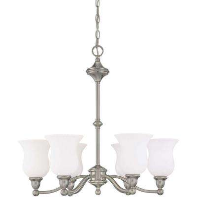 6-Light Brushed Nickel Chandelier with Satin White Glass Shade