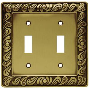 paisley decorative double switch plate tumbled antique brass