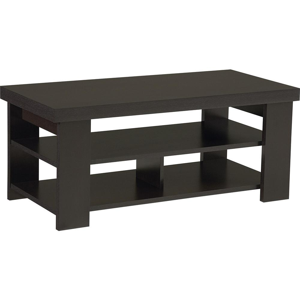 Vantage Espresso Built-In Storage Coffee Table