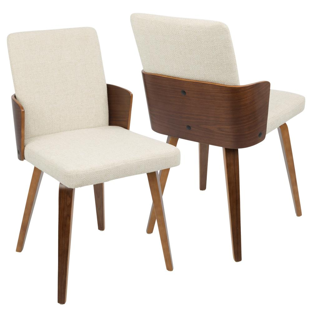 Carmella Mid-Century Walnut and Cream Modern Dining Chair (Set of 2)