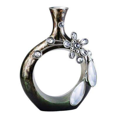 16 in. Belleria Decorative Vase in Silver/Gray and Soft Golden Brown with Mirror Accent