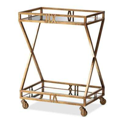 Laurent Antique Gold 2-Tier Mobile Bar Cart
