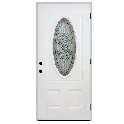 Webville Oval Lite 2-Panel Primed White Steel Prehung Front Door