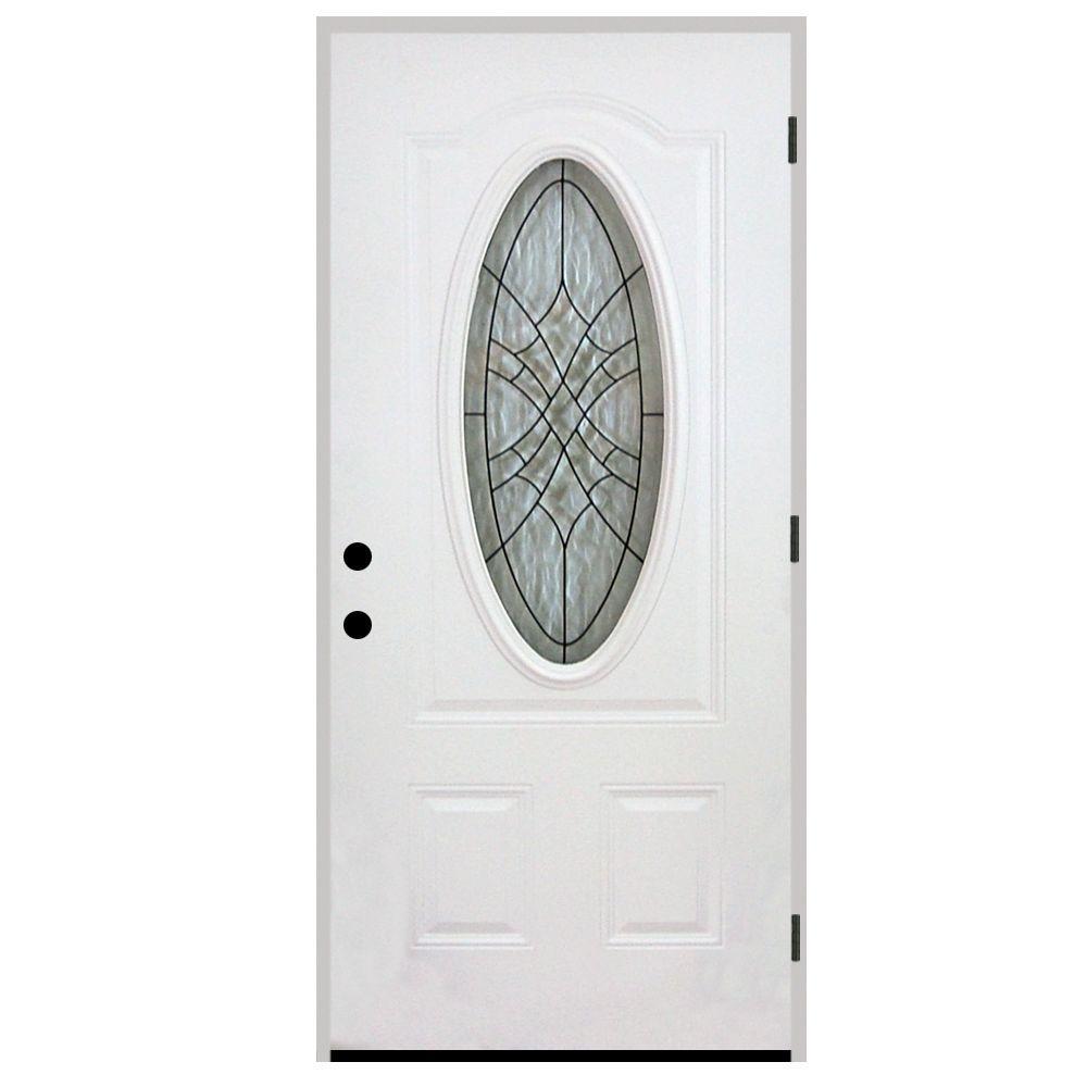 Steves & Sons 36 in. x 80 in. Webville Oval Lite 2-Panel Primed White Steel Prehung Front Door