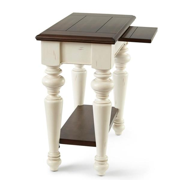 Wesley Walnut And White Cottage Style Chairside End Table Wy300ec