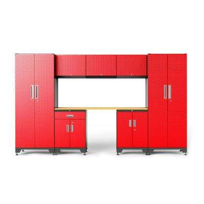 72 in. H x 132 in. W x 18 in. D 24-Gauge Steel Garage Storage Cabinet Set with Wooden Top in Red (8-Piece)
