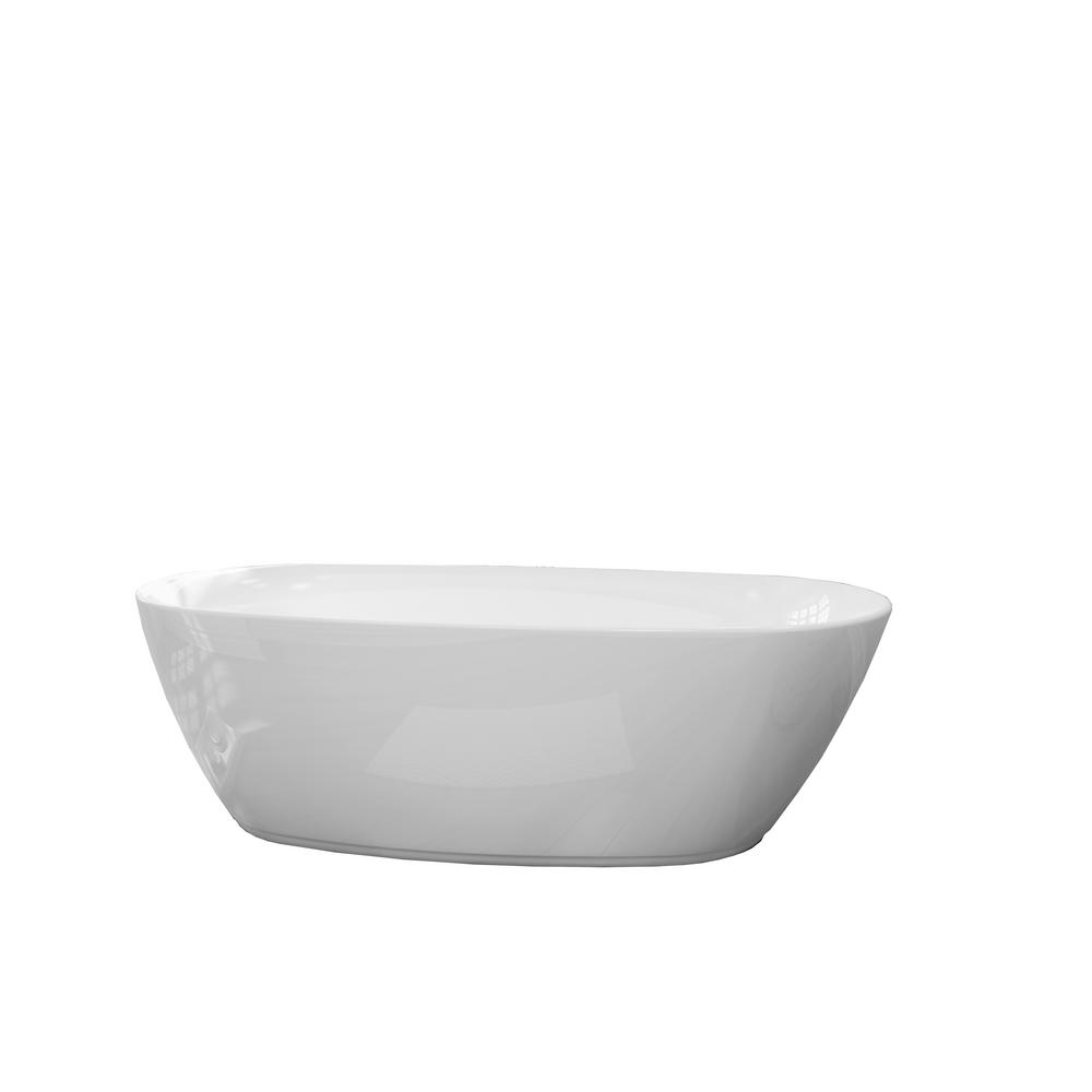 Renwil Columbus 71 In Acrylic Freestanding Flatbottom Non Whirlpool Bathtub In White No Faucet