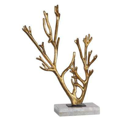 11.38 in. x 17 in. Coral Sculpture in Gold with Marble Base