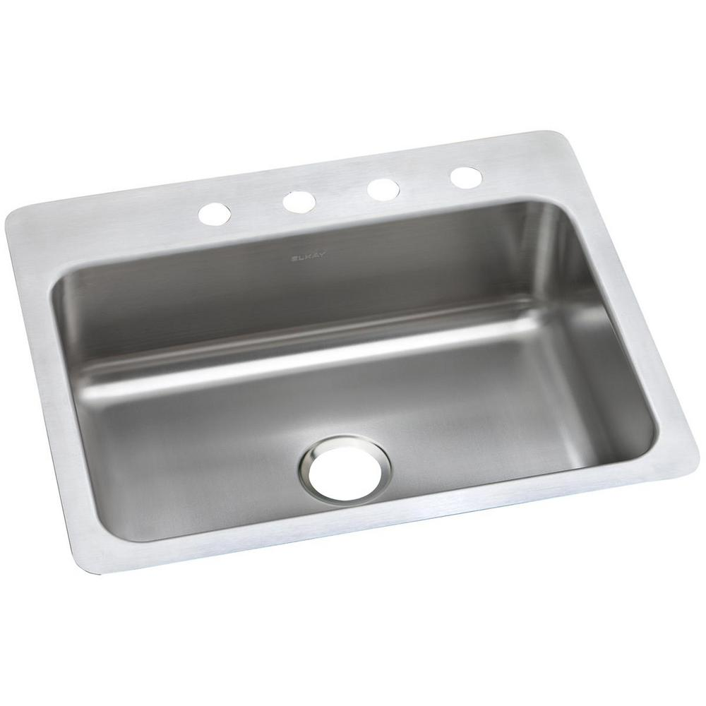 Dayton Dual Mount Stainless Steel 27 In 1 Hole Single Bowl Kitchen Sink