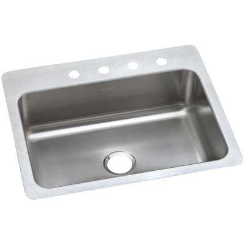Dayton Dual Mount Stainless Steel 27 in. 4-Hole Single Bowl Kitchen Sink