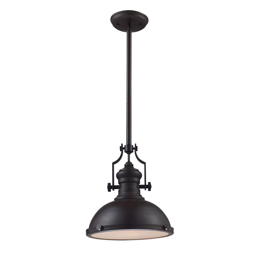 Titan Lighting Chadwick 1-Light Oiled Bronze Ceiling Mount Pendant