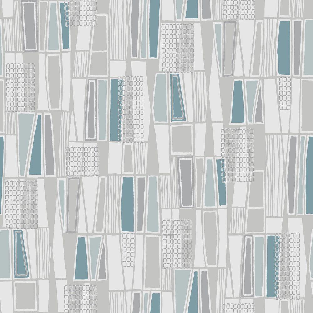Blue Retro Geometric Wallpaper