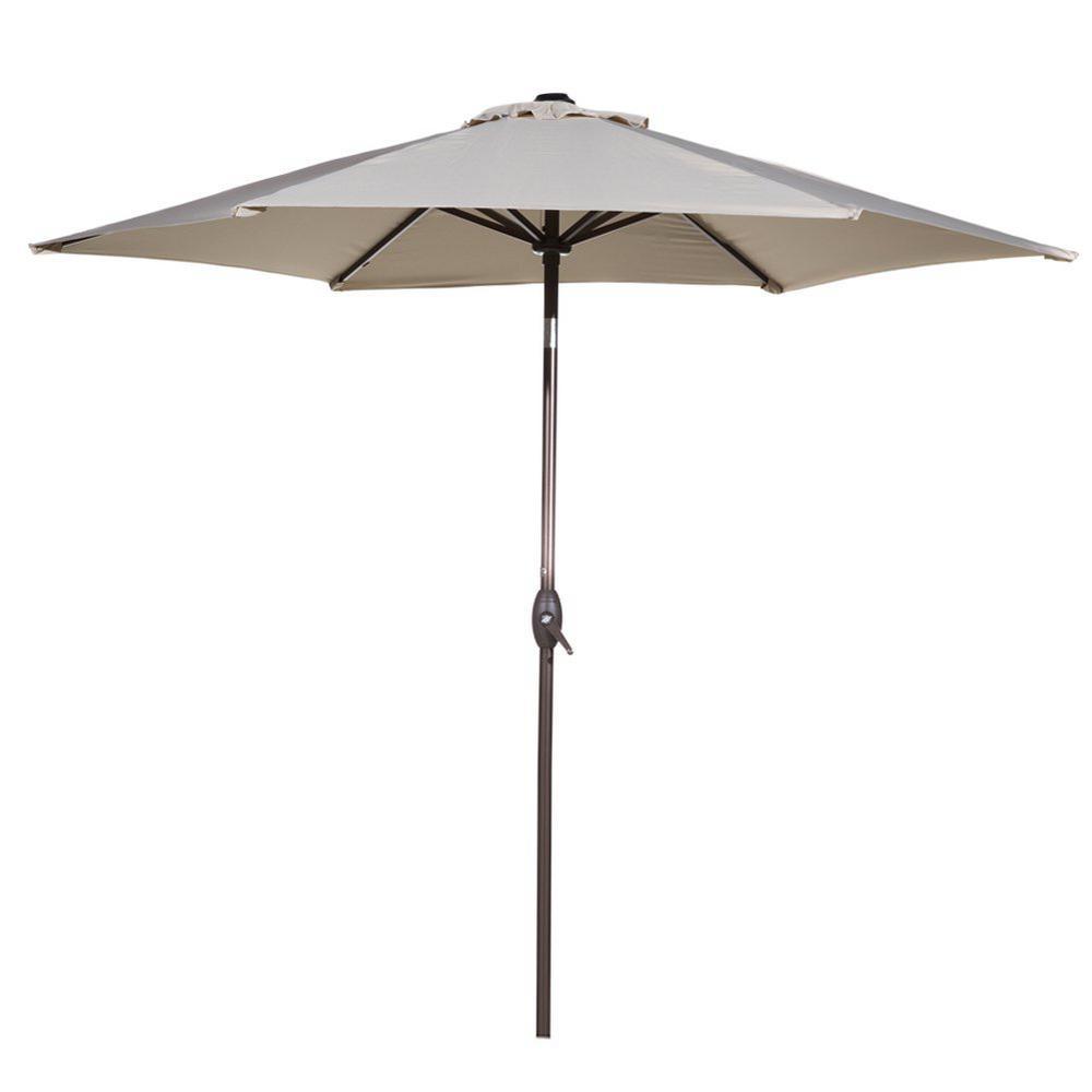 9767c06f7e Abba Patio 9 ft. Market Outdoor Aluminum Table with Push Button Tilt and  Crank Patio Umbrella in Beige