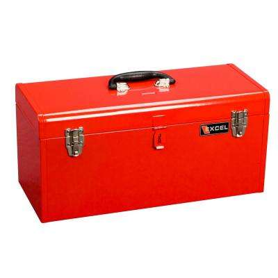 20 in. W x 8.6 in. D x 9.6 in. H Portable Steel Tool Box with Steel Tray, Red