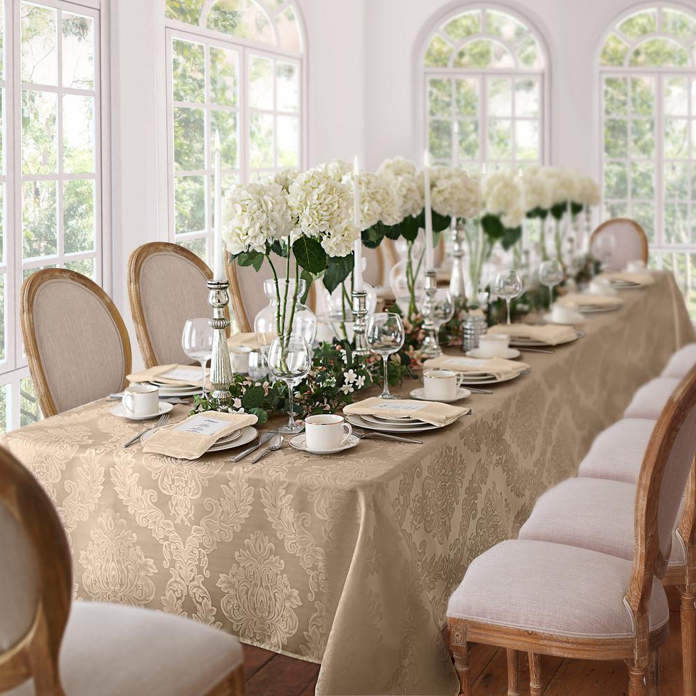 60 in. W x 84 in. L Oblong Beige Elrene Barcelona Damask Fabric Tablecloth