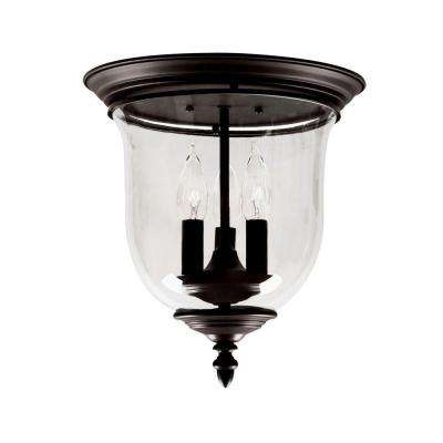 3-Light Bronze Flushmount with Clear Glass Shade