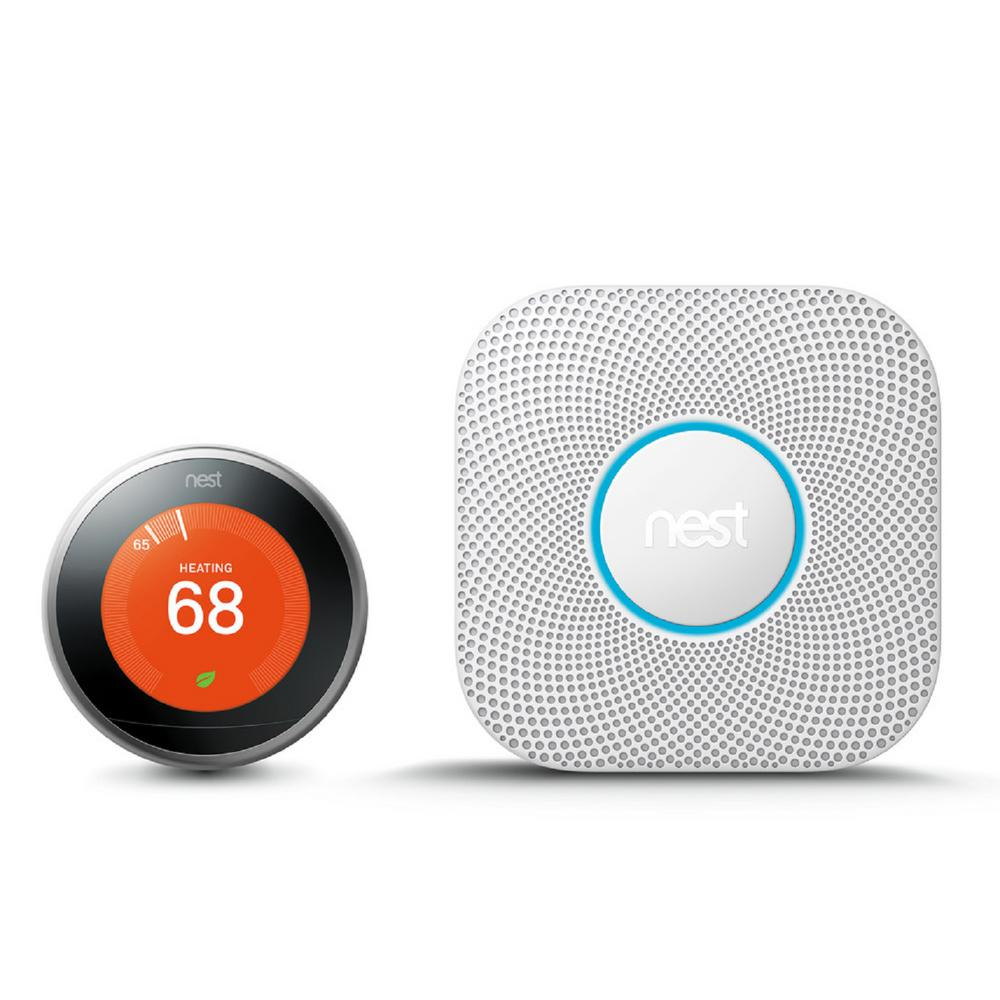 Google Nest Learning Thermostat 3rd Gen in Stainless Steel and Google Nest Protect Battery Smoke and Carbon Monoxide Detector