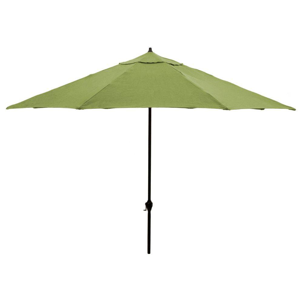 Hampton Bay 11 ft. Aluminum Patio Umbrella in Sunbrella Spectrum Cilantro