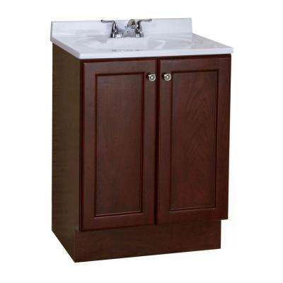 Vanity Pro All-In-One 24-1/2 in. W Vanity in Chestnut with Cultured Marble Vanity Top in White
