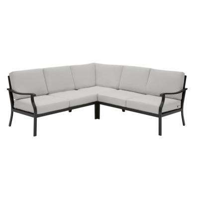 Riley 3-Piece Black Steel Outdoor Patio Sectional Sofa with CushionGuard Stone Gray Cushions