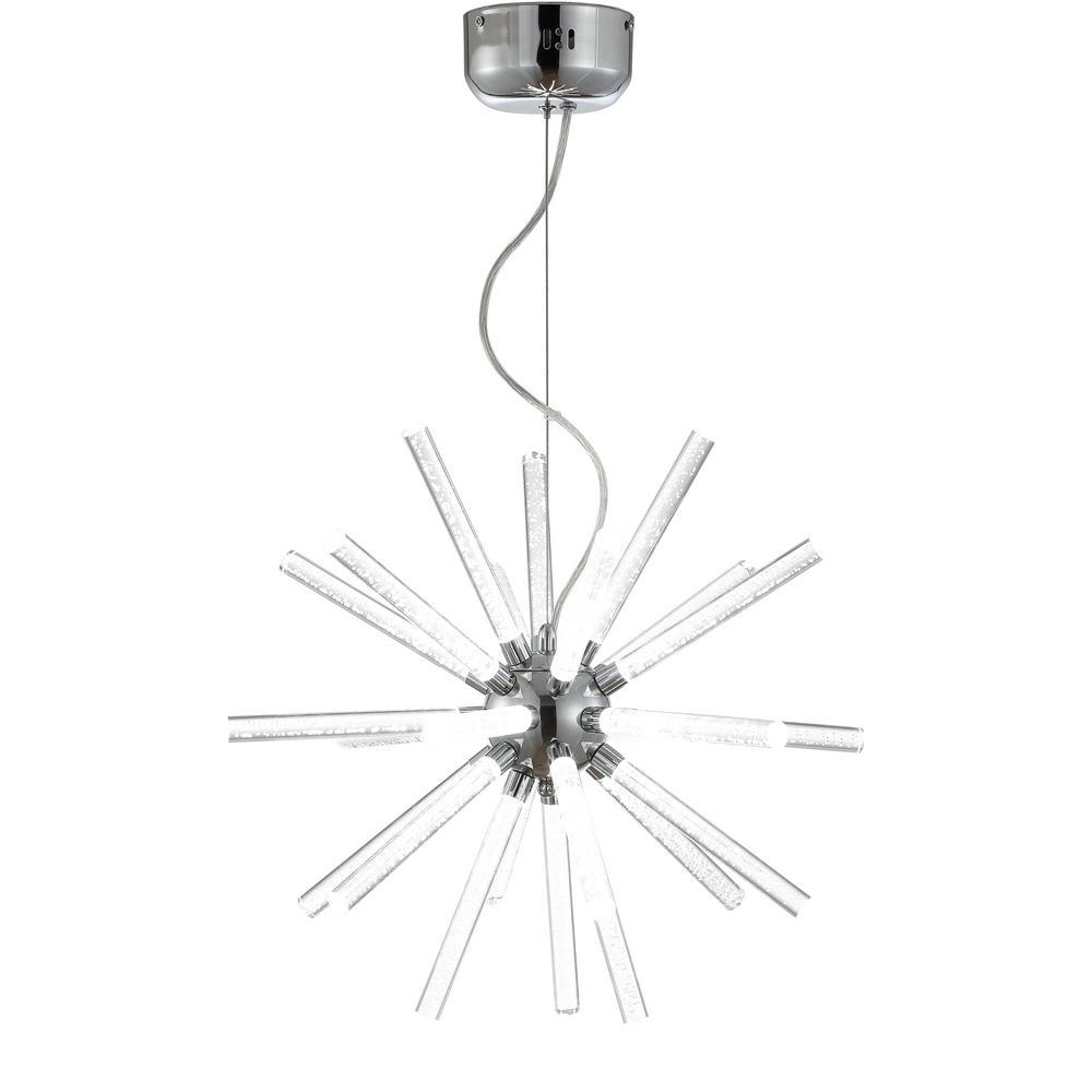 Soyuz 19.5 in. Chrome/Clear Adjustable Integrated LED Starburst Metal/Acrylic Pendant