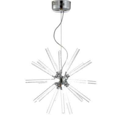 Soyuz 19.5 in. Chrome/Clear Adjustable Integrated LED Starburst Metal/Acrylic Pendant
