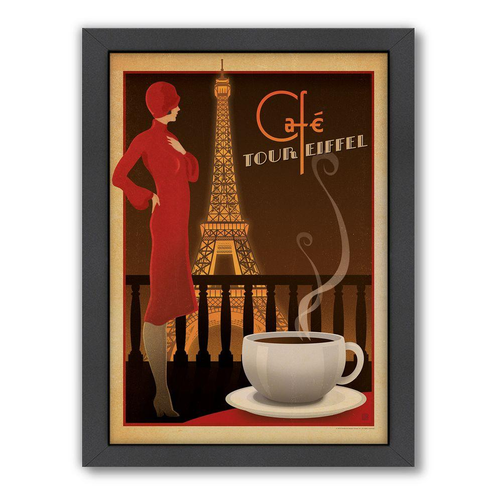 "Americanflat 27 in. x 21 in. ""Cafe Tour Eiffel"" by Joel Anderson Framed Wall Art"