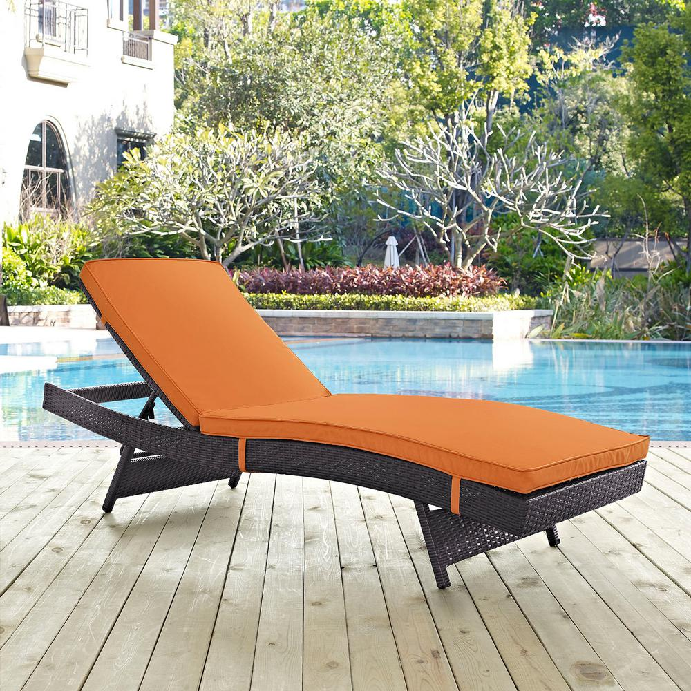 Convene Wicker Outdoor Patio Chaise Lounge in Espresso with Orange Cushions