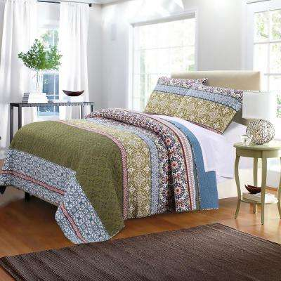 Shangri-La 3-Piece Multi Full and Queen Quilt Set