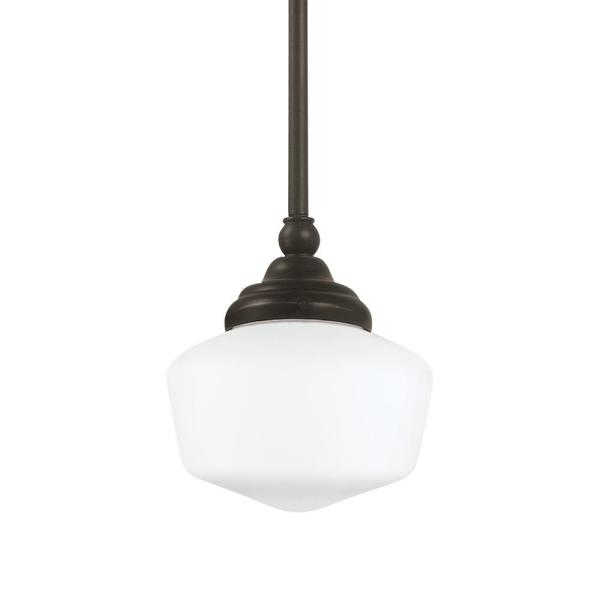 Academy Small 6.75 in. W. x 7.5 in H. 1-Light Heirloom Bronze Pendant with Satin White Glass Shade