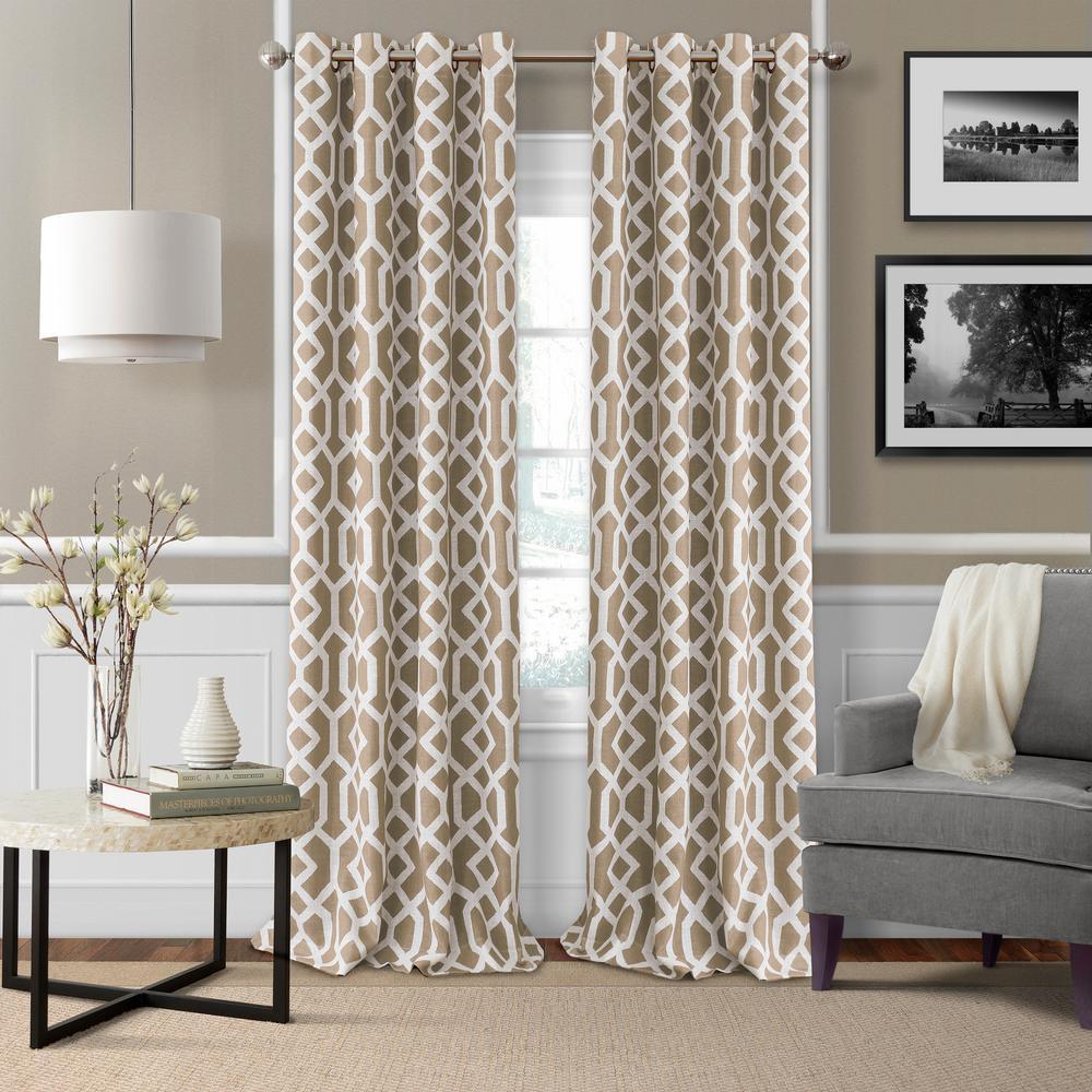Elrene Grayson 52 in. W x 84 in. L Polyester Single Blackout Window Panel in Linen