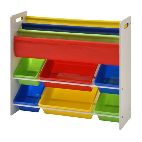 Muscle Rack 33.8 in. x 10.4 in. Book and Toy Storage Organizer with 6-Plastic Bins