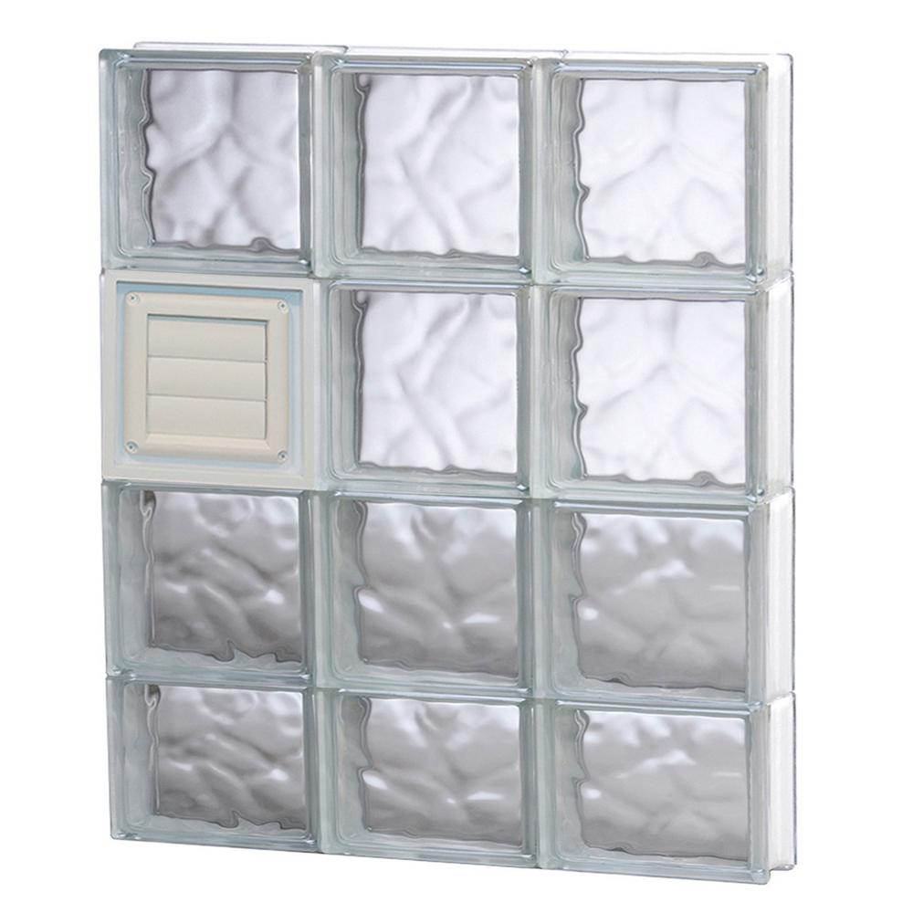 Clearly secure in x 29 in x in wave pattern for Where to buy glass block windows