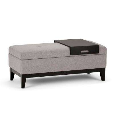 Oregon Cloud Grey Storage Ottoman Bench with Tray