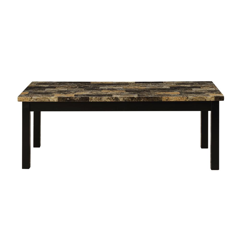 Acme Furniture Finely Ii Faux Marble And Black 3 Piece Coffee And