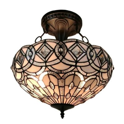 2-Light Tiffany Style Floral White Hanging Pendant Lamp