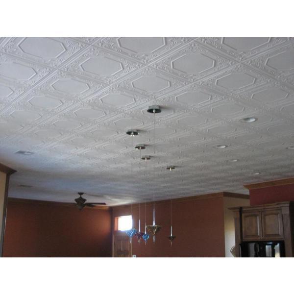 Topkapi Palace 1.6 ft. x 1.6 ft. Glue Up Foam Ceiling Tile in Plain White (21.6 sq. ft./case)