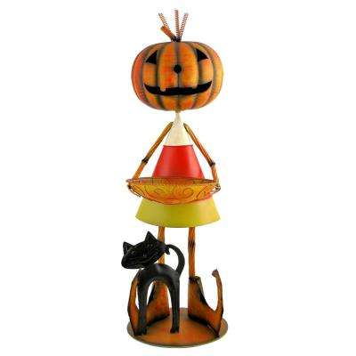 37 in. Iron Candy Corn Jack-O-Lantern Man with Tray and Cat Halloween Decoration
