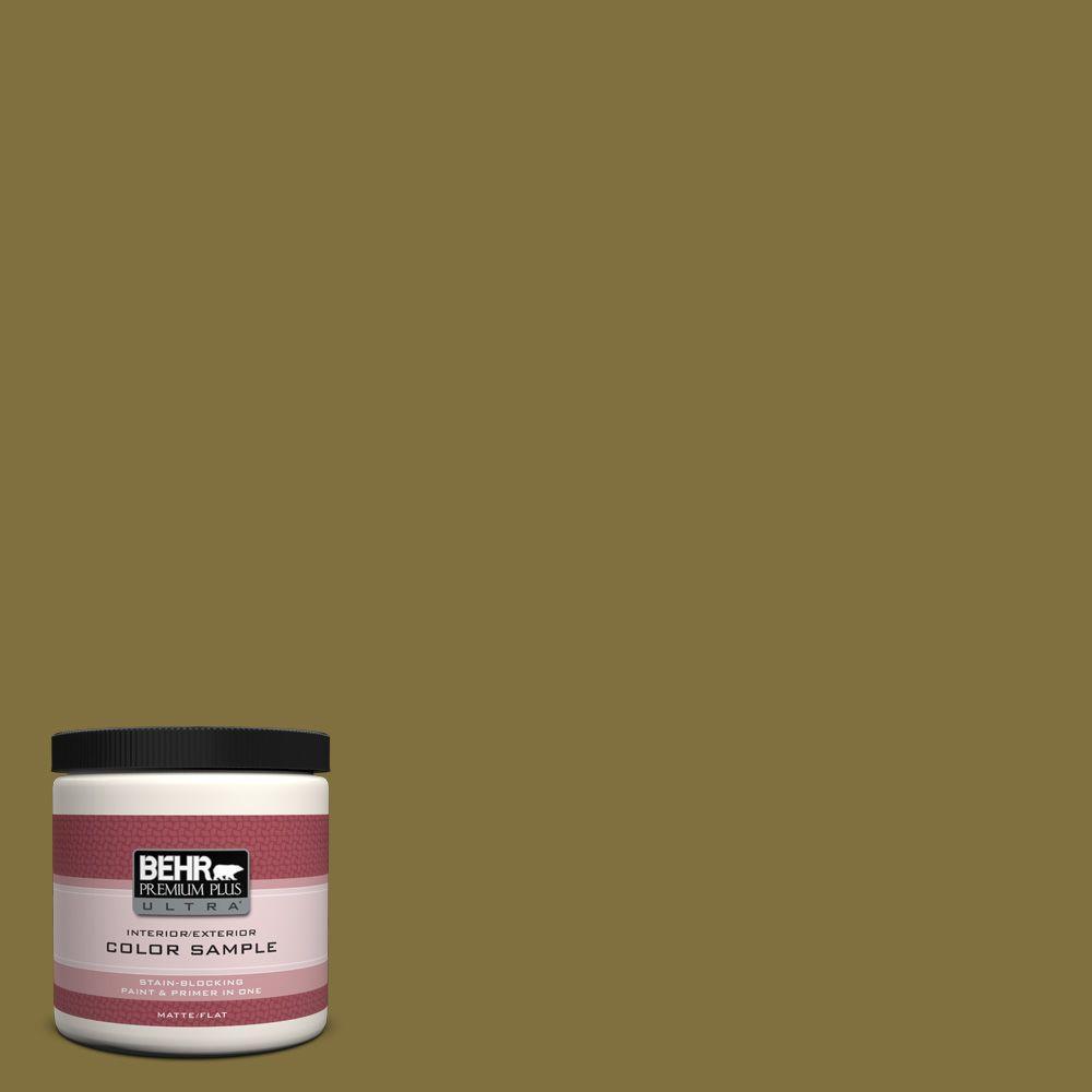 BEHR Premium Plus Ultra 8 oz. #S-H-390 Italian Olive Interior/Exterior Paint Sample