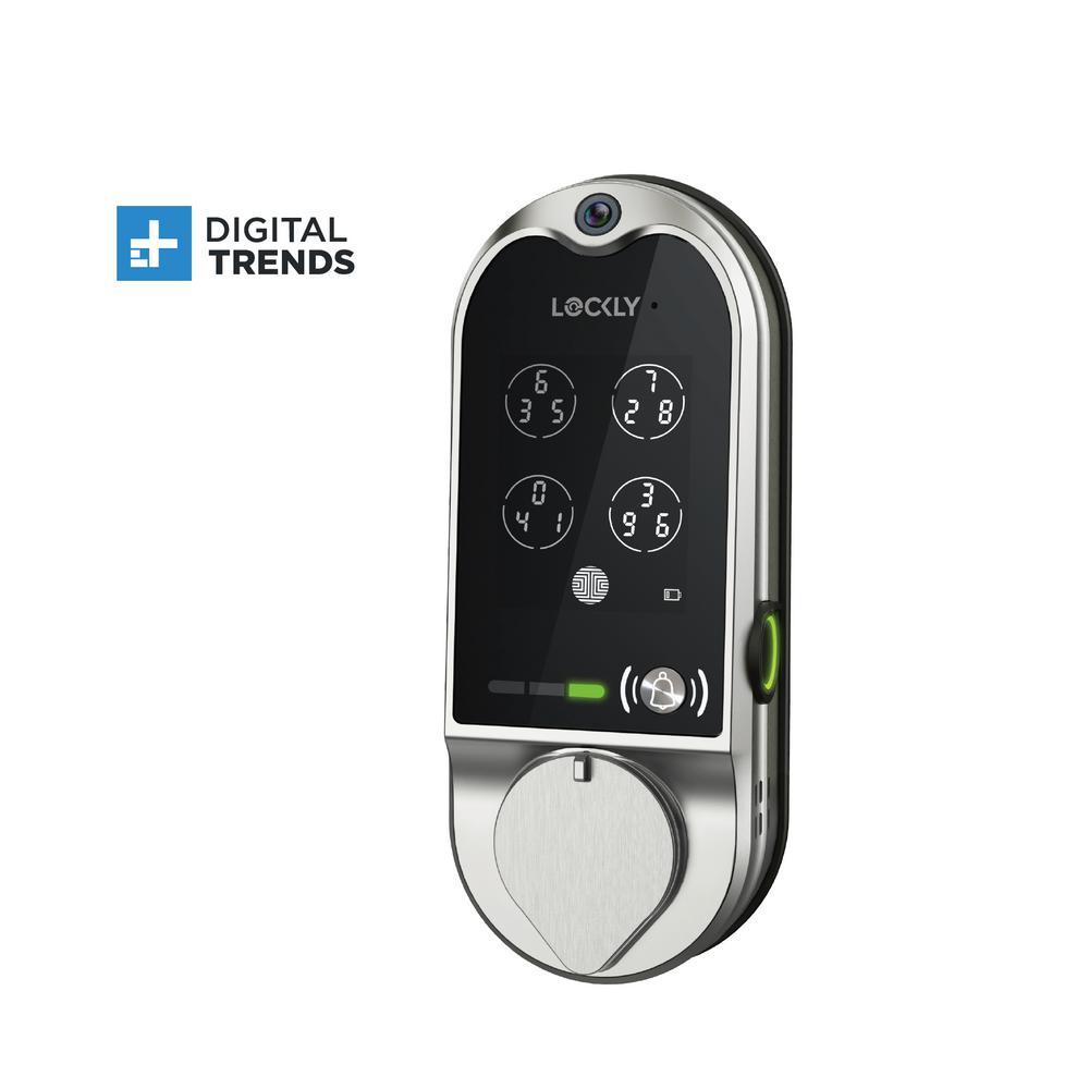 Lockly Vision Satin Nickel Deadbolt with Video Doorbell Smart Lock