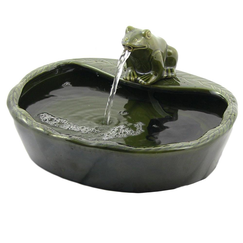7 in. Ceramic Frog Solar Outdoor Water Fountain