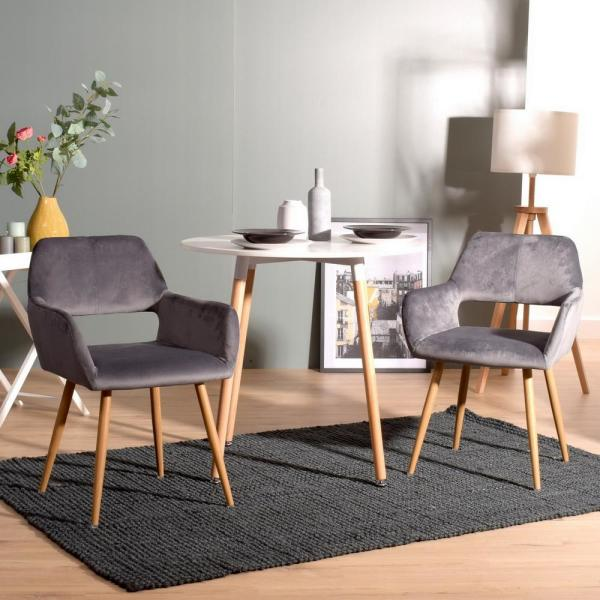 Sumyeg Gray Cromwell Velvet Fabric Upholstered Dining Chairs Hollow Design Arm Chair With Solid Wood Legs Cromwell Velvet Grey Oak Leg The Home Depot