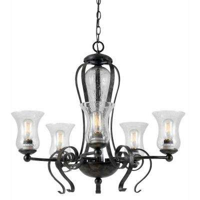5-Light Hardwire Ceiling Mount Organic Tarnished Pewter Chandelier
