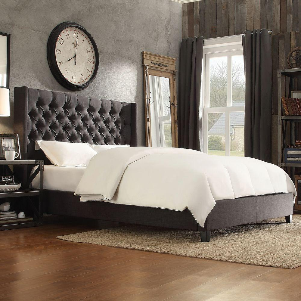 homesullivan wentworth charcoal queen upholstered bed. homesullivan wentworth charcoal queen upholstered bedebq