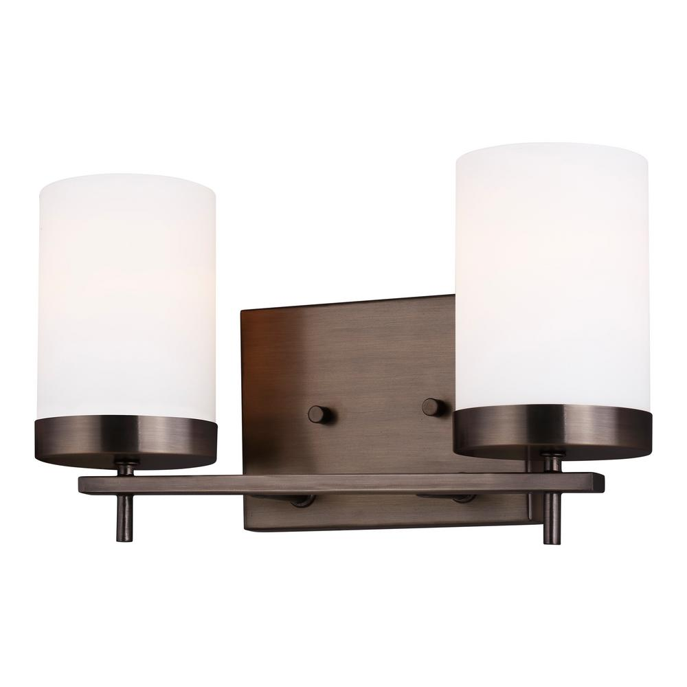 Sea Gull Lighting Zire 14 in. W 2-Light Brushed Oil Rubbed Bronze Vanity Light with Etched White Glass Shades