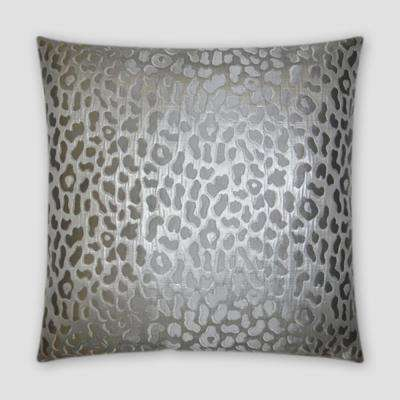 Metallic Cheetah Silver Feather Down 20 in. x 20 in. Standard Decorative Throw Pillow