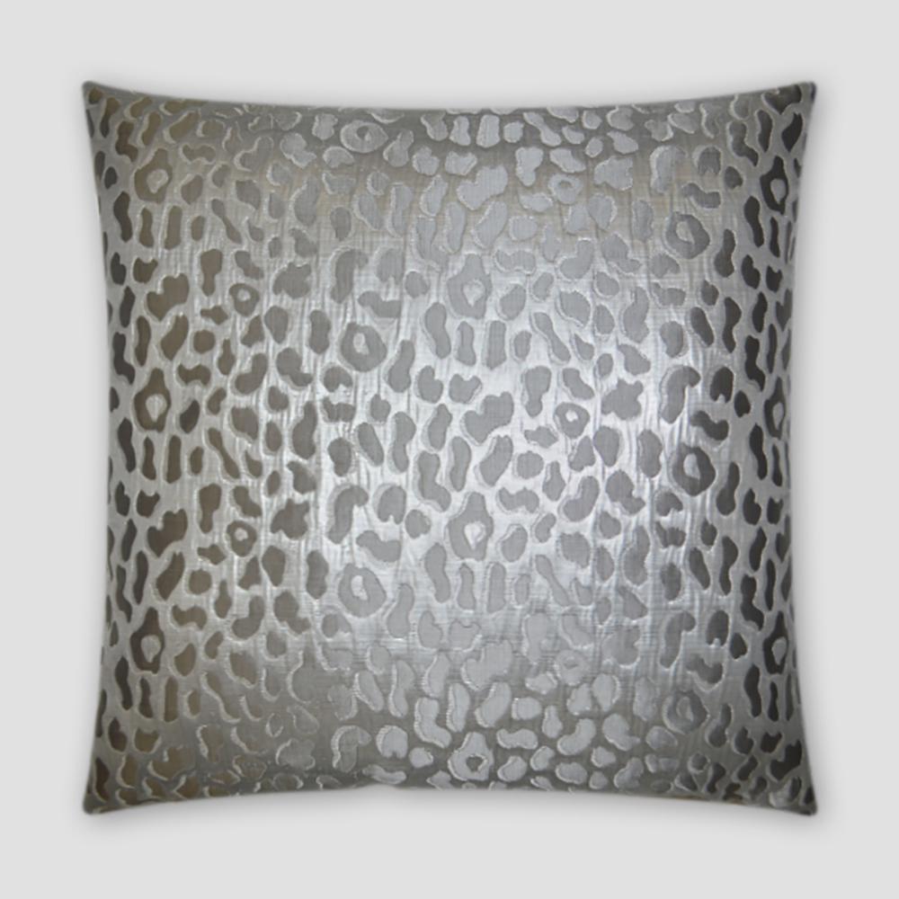 Metallic Cheetah Silver Feather Down 20 in. x 20 in. Standard Decorative Throw Pillow