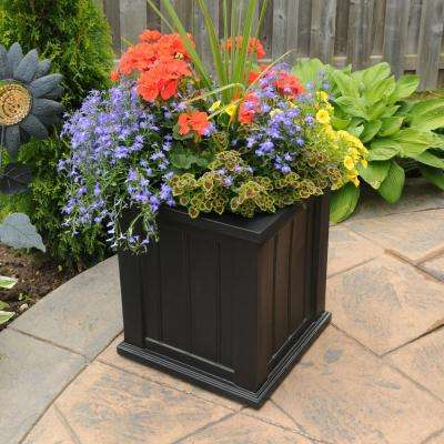 Cape Cod 16 in. Square Black Plastic Planter