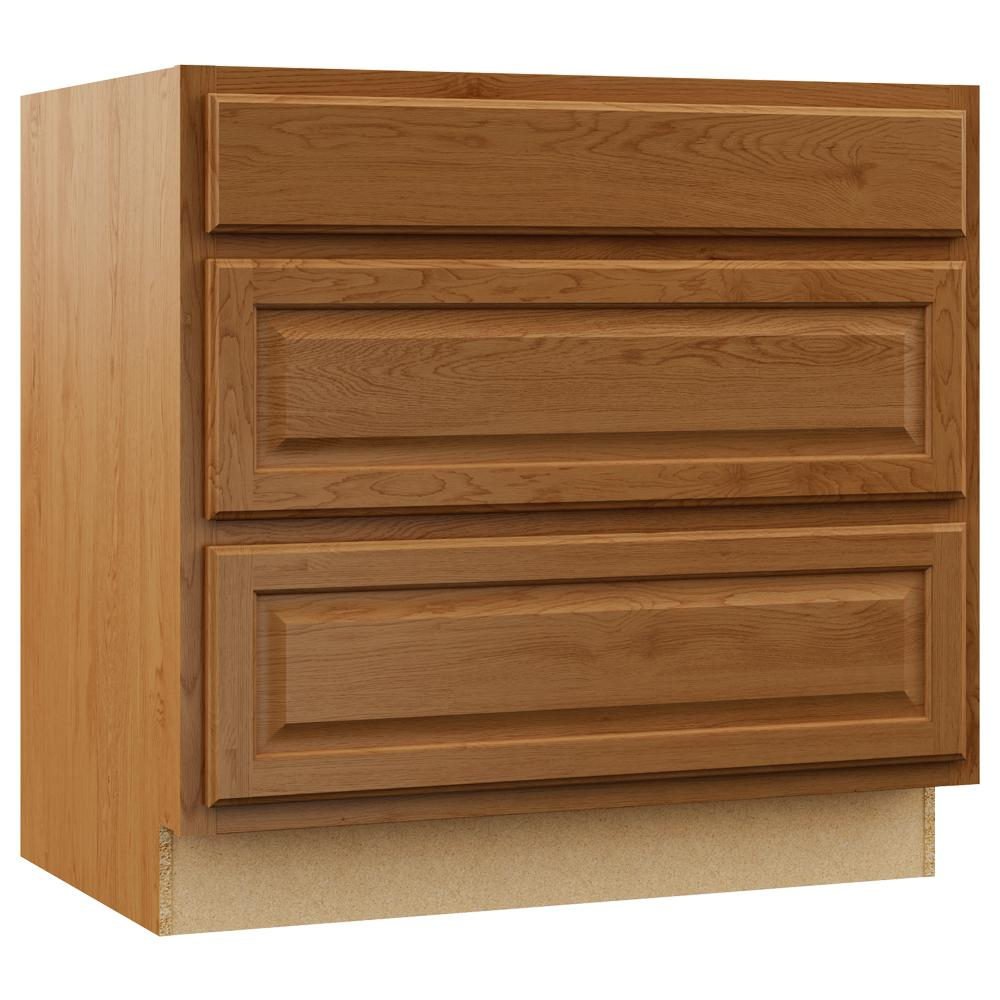 Hampton Bay Hampton Assembled 36x34.5x24 in. Pots and Pans Drawer Base  Kitchen Cabinet in Medium Oak