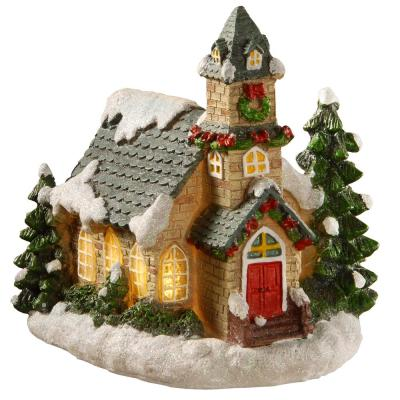 7.48 in. Christmas House with LED Battery Operated Lights